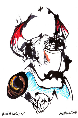 Bull and Lollipop Ink and paint on paper 2021