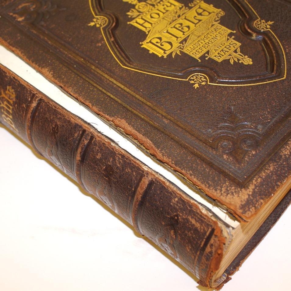Family  Bible Repair - Before