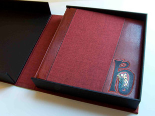 Half Leather Photograph Album with Intricate Leather Onlay's
