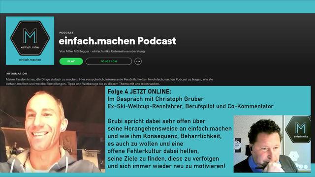 Folge 4 des einfach.machen Podcasts online: Christoph Gruber, Ex-Weltcup-Skirennfahrer vorm Mike