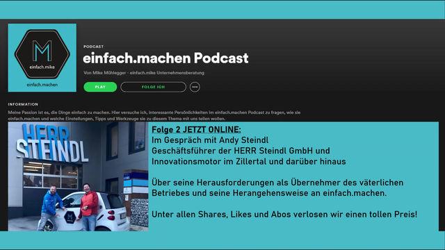 Folge 2 des einfach.machen Podcasts: Andy Steindl, Geschäftsführer der herr Steindl GmbH vorm Mike