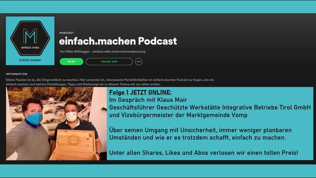 einfach.machen-Podcast Folge 1 online! Klaus Mair (GW Tirol)