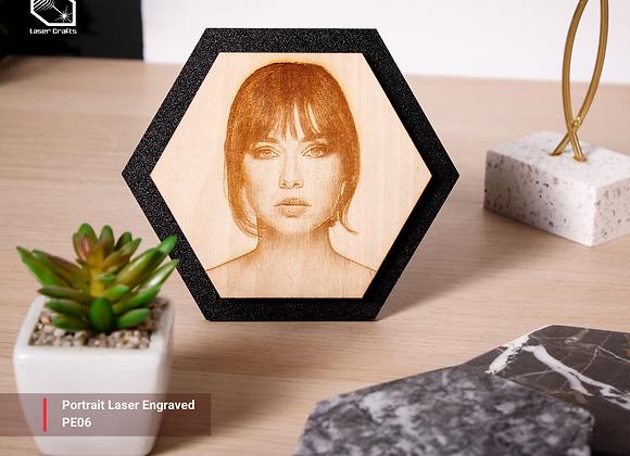 Hexagonal Portrait Laser Engraved