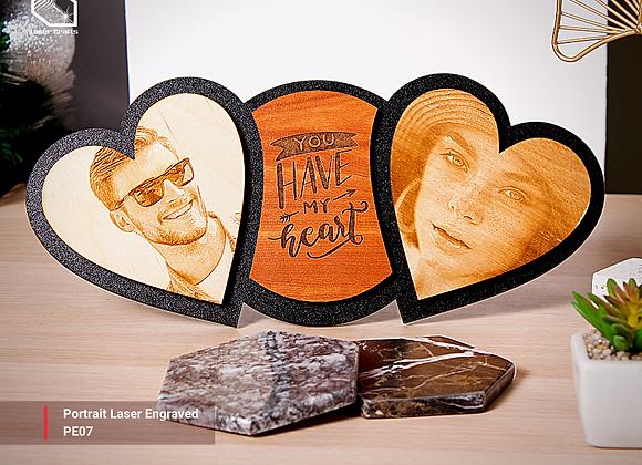 Double Heart Portrait Laser Engraved