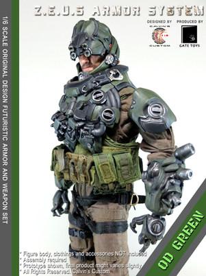 Calvin's Custom 1/6 original design Z.E.U.S Armor OD GREEN version