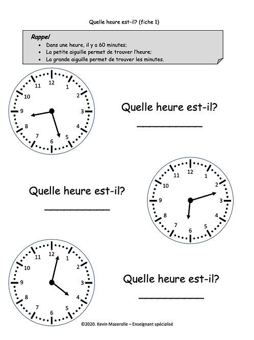 Fiche 1 - L'heure