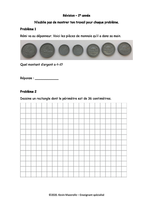 Révision - Maths - 2e année