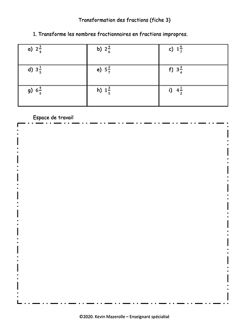 Fiche 3 - Transformation des fractions