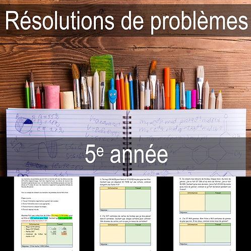 Résolutions de problèmes 5e année (Gratuit)