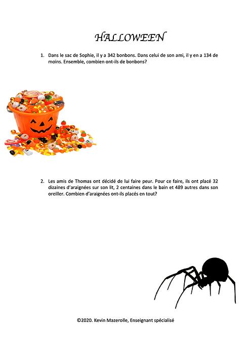 Problèmes écrits - Halloween 1