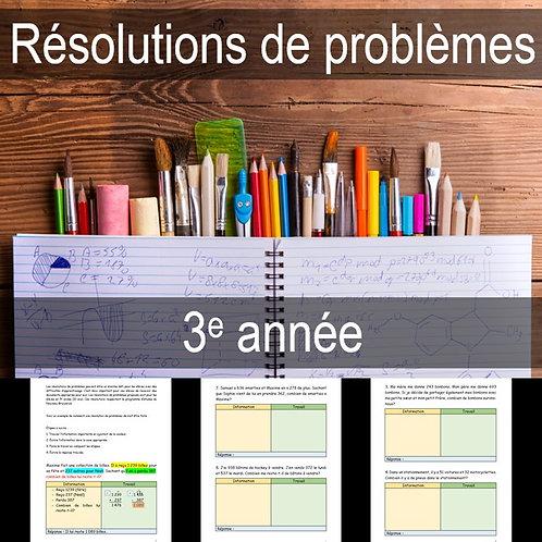 Résolutions de problèmes 3e année (Gratuit)
