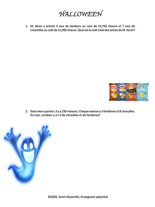 Problèmes écrits - Halloween 2
