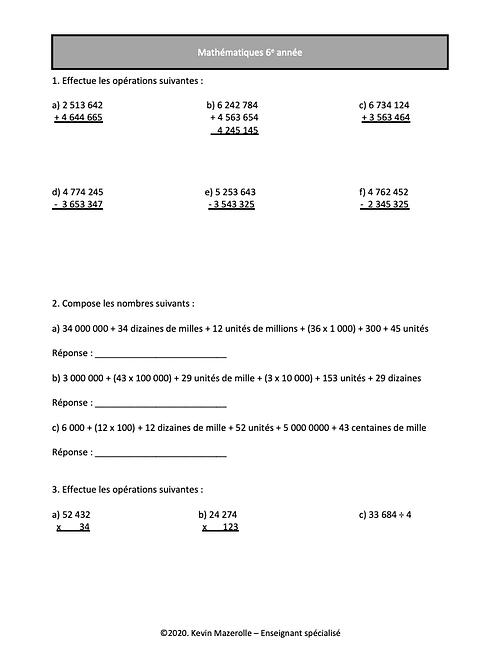 Révision - Maths - 6e année