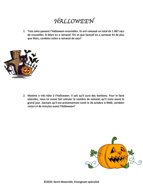 Problèmes écrits - Halloween 3