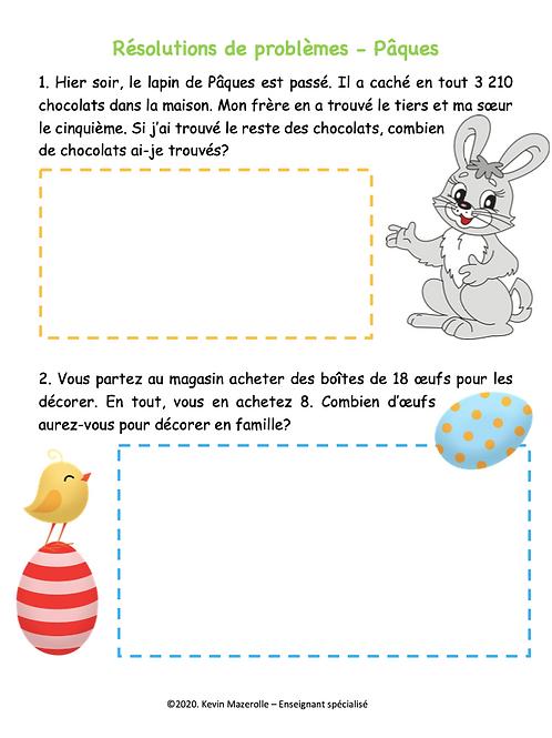 Résolutions de problèmes - Pâques
