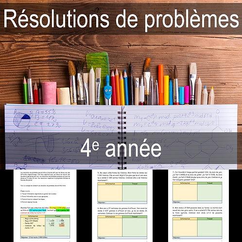 Résolutions de problèmes 4e année (Gratuit)