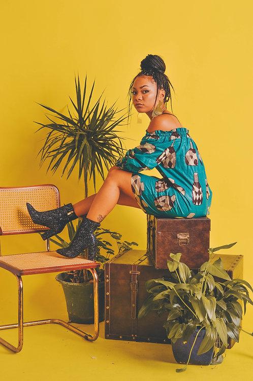 African Pots Off-shoulder Summer Dress