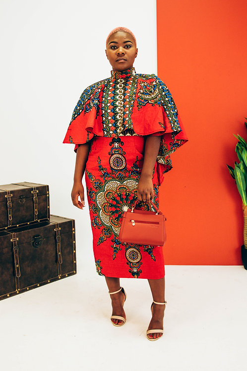 Dashiki Cape Dress