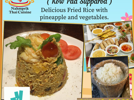 Smooth taste of Thai Pineapple Fried Rice with vegetables and raisin. The juicy taste of fresh vegs!