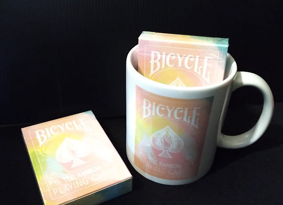 Bicycle Rainbow (Peach) Playing Cards Mug set