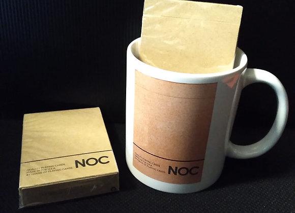 NOC on Wood (Brown) Playing Cards Mug set
