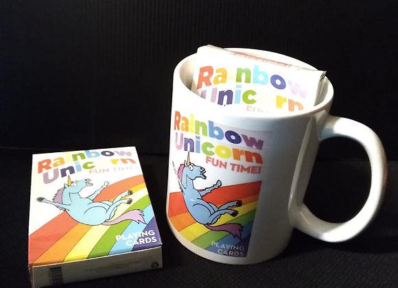 Rainbow Unicorn Fun Time! Playing Cards Mug set