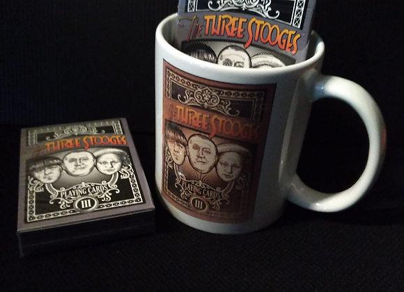 The Three Stooges Playing Cards Mug set