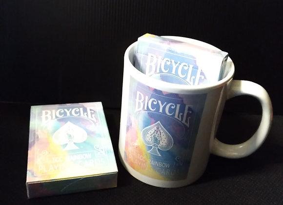 Bicycle Rainbow (Cedar) Playing Cards Mug set