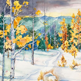 Early Winter Snowfall, Watercolor, 22 x 30, SOLD