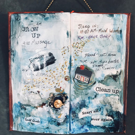 """Diary in the Day of A Goddess , Book Series, Mixed media, book, acrylic, torn paper.  6"""" x 8"""""""