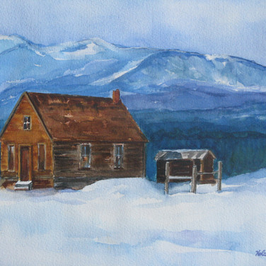 Old Settler's Cabin Near Leadville. Watercolor 18x24 SOLD