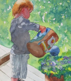 """Boy & Watering Can, watercolor, 8.5"""" x 11"""", SOLD"""
