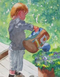 "Boy & Watering Can, watercolor, 8.5"" x 11"", SOLD"