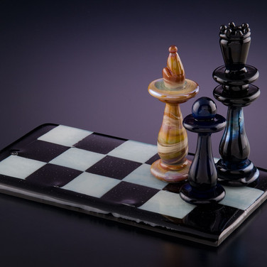 Chess Set Sculpture  Hard glass blown chess pieces on a fused glass board