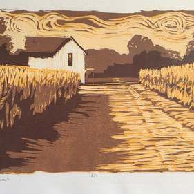 """""""Local Harvest,"""" Reduction Woodcut Print, Available."""