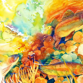 Rich Pool #8, Cutthroat Trout, Watercolor,  27 x 41, SOLD