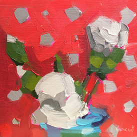 """""""Polka Dot Red,"""" Oil on Wood, Private Collection."""