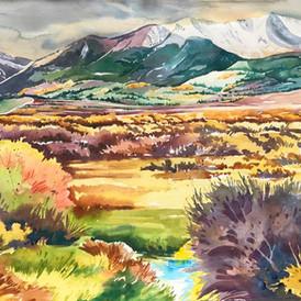 Big Union Creek with Mt. Elbert, Watercolor, 22 x 30,  SOLD