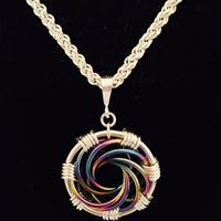 """Niobium and Sterling Silver """"Infinity Spiral"""" Necklace on Handwoven Sterling Silver Chain"""