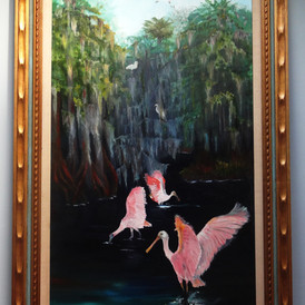 roseate spoonbills fishing for lunch in a swampy mangrove backwater  oil on canvas