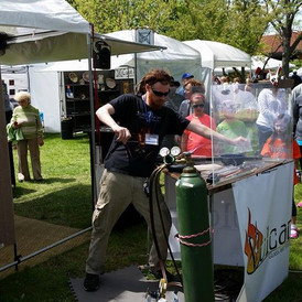 Glassblowing at Art Show.  Barry has portable bench and can demonstrate at special events.