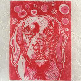 """Chloe,"" Reduction Linocut Print, 5 x 4,"" Available."