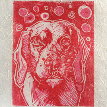 """Chloe,"" Reduction Linocut Print, 5 x 4,"" Available."