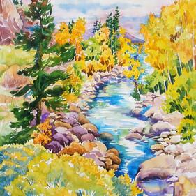 Arkansas River Color, Watercolor, 20 x 28,  SOLD