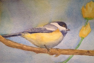 "Blackcap Chicadee, watercolor, 8"" x 10"", SOLD"
