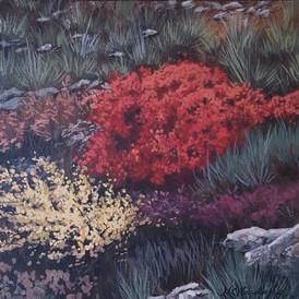 """Red Bush"" 8"" x 8"" acrylic on 1/2"" MDO panel"