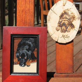 """""""Milo"""" 3"""" x 5"""" mini-reverse painting on glass and wood burned ornament"""