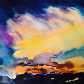 Storm over Taos, watercolor, 14 x 20