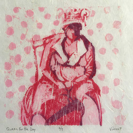 """""""Queen for the Day,"""" Reduction Woodcut Print, 6 x 6"""", Available."""