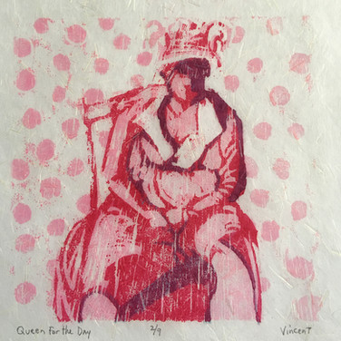 """Queen for the Day,"" Reduction Woodcut Print, 6 x 6"", Available."